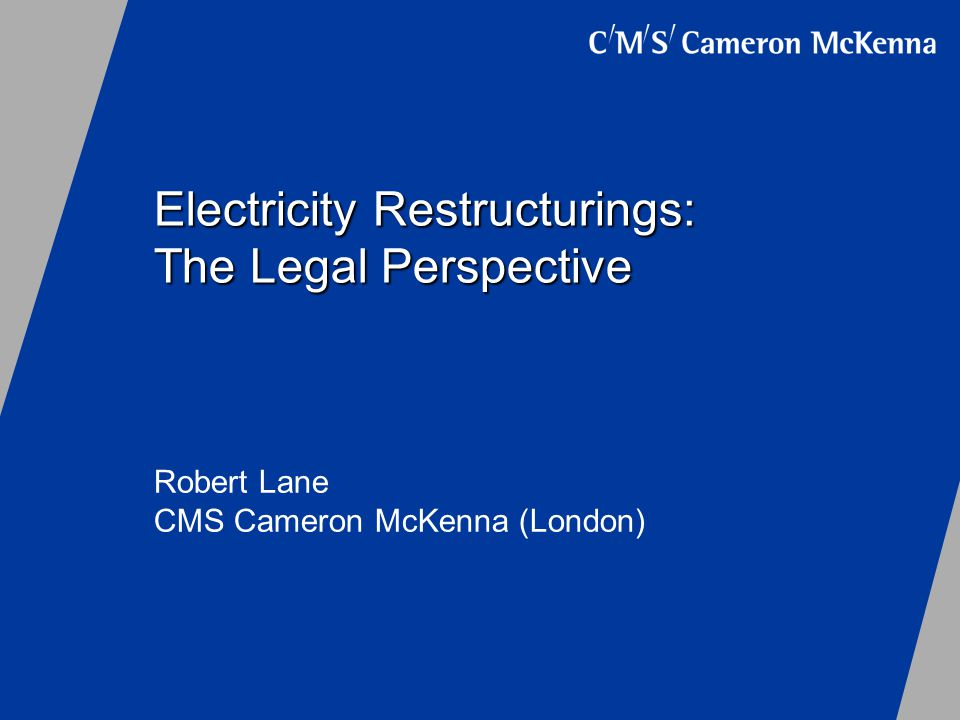 Electricity Restructurings: The Legal Perspective Robert Lane CMS Cameron McKenna (London)