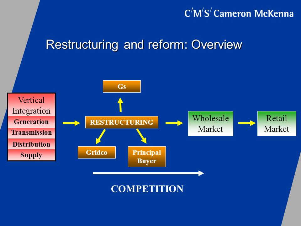 Restructuring and reform: Overview Vertical Integration RESTRUCTURING Retail Market Wholesale Market COMPETITION GridcoPrincipal Buyer Gs Transmission Distribution Generation Supply