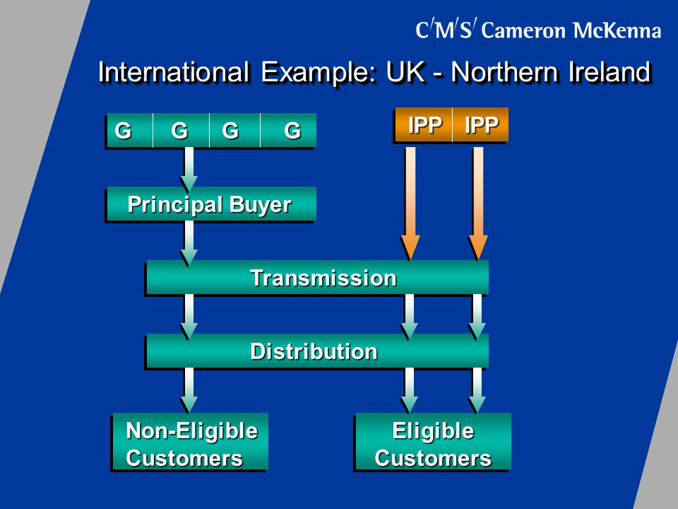 International Example: UK - Northern Ireland Principal Buyer Transmission Distribution Non-EligibleCustomers GGGG EligibleCustomers IPPIPP