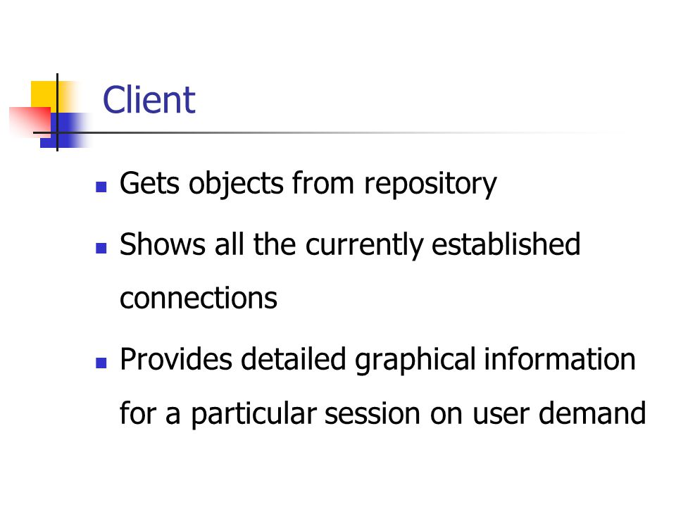 Client Gets objects from repository Shows all the currently established connections Provides detailed graphical information for a particular session on user demand
