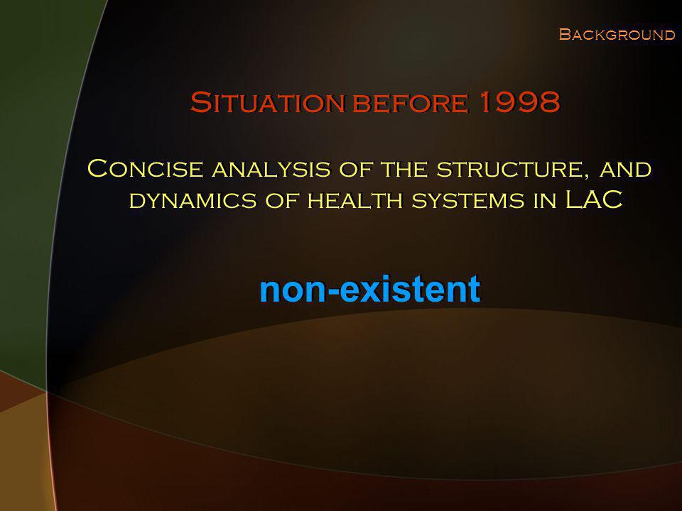 Background Concise analysis of the structure, and dynamics of health systems in LAC Situation before 1998 non-existent