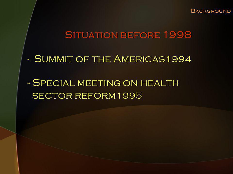 Background - Summit of the Americas 1994 - Special meeting on health sector reform 1995 - Summit of the Americas 1994 - Special meeting on health sector reform 1995 Situation before 1998