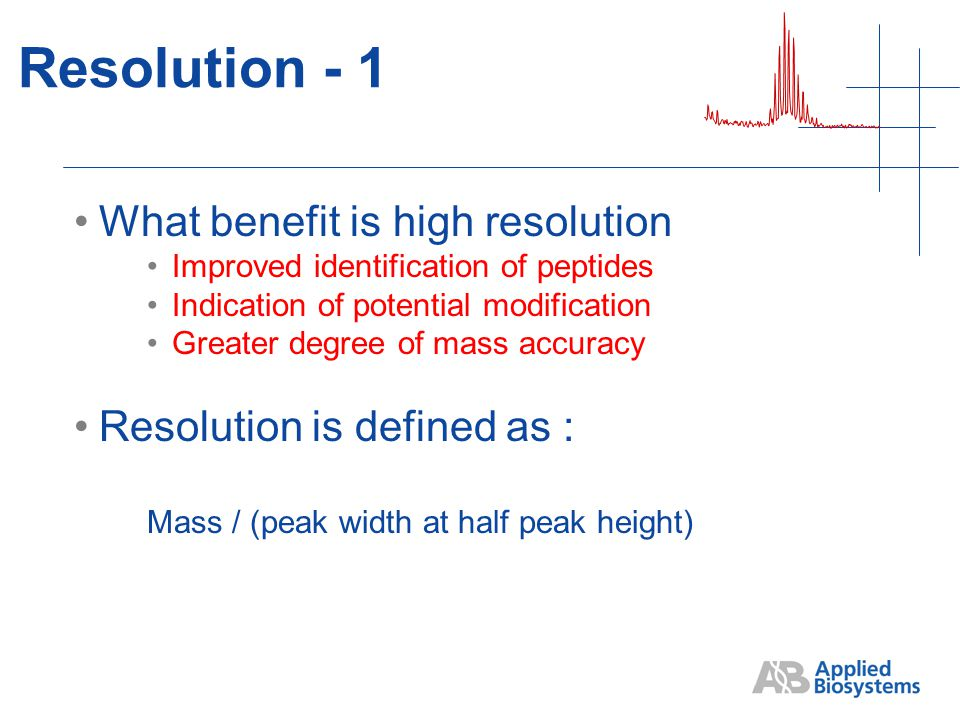 Resolution - 1 What benefit is high resolution Improved identification of peptides Indication of potential modification Greater degree of mass accuracy Resolution is defined as : Mass / (peak width at half peak height)