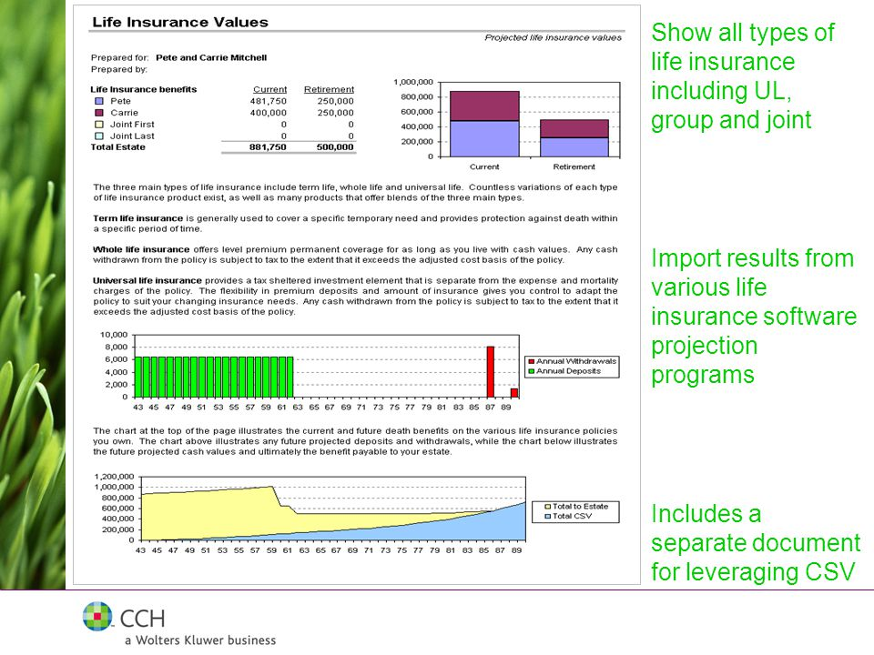 Includes a separate document for leveraging CSV Import results from various life insurance software projection programs Show all types of life insurance including UL, group and joint