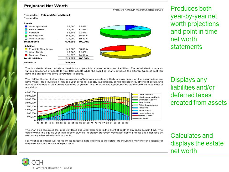 Calculates and displays the estate net worth Displays any liabilities and/or deferred taxes created from assets Produces both year-by-year net worth projections and point in time net worth statements