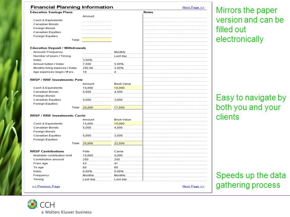 Mirrors the paper version and can be filled out electronically Easy to navigate by both you and your clients Speeds up the data gathering process