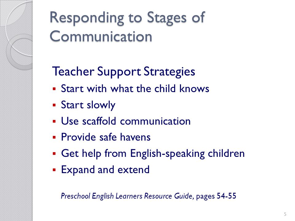 5 Responding to Stages of Communication Teacher Support Strategies Start with what the child knows Start slowly Use scaffold communication Provide safe havens Get help from English-speaking children Expand and extend Preschool English Learners Resource Guide, pages 54-55