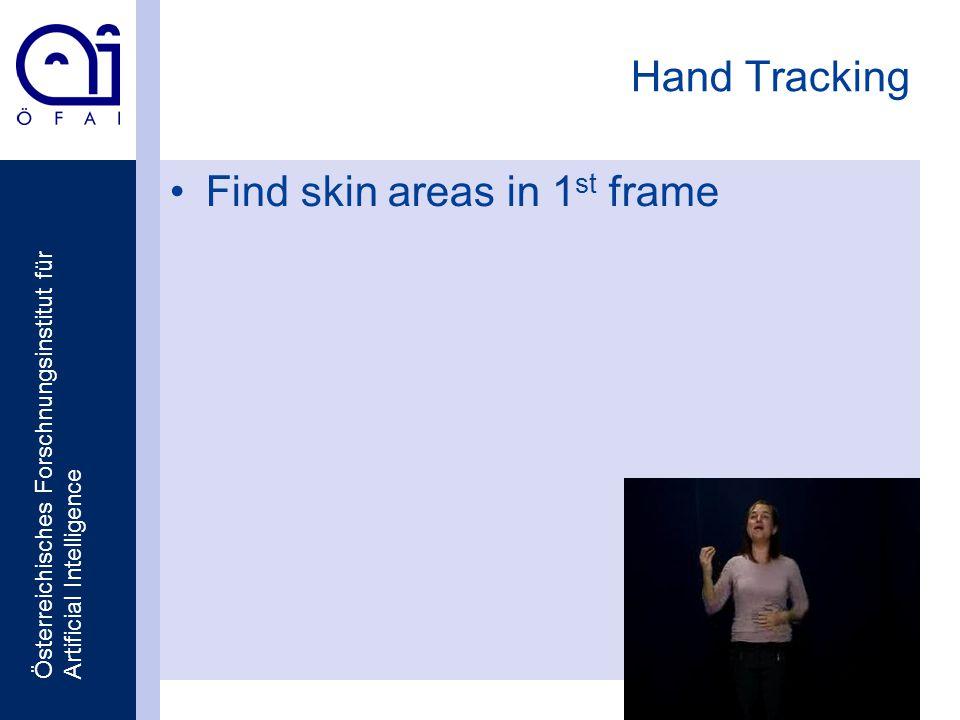 Österreichisches Forschnungsinstitut für Artificial Intelligence Hand Tracking Find skin areas in 1 st frame