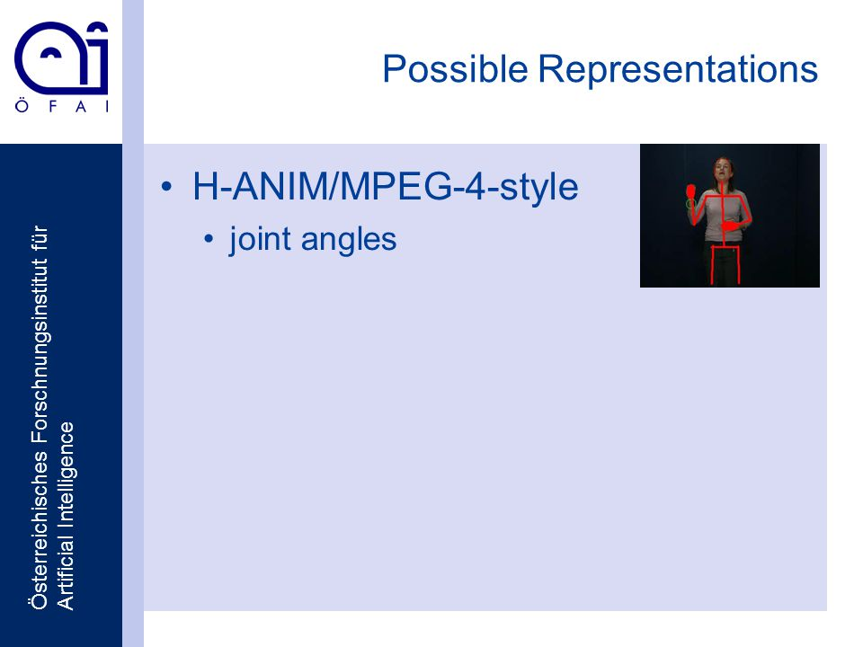 Österreichisches Forschnungsinstitut für Artificial Intelligence Possible Representations H-ANIM/MPEG-4-style joint angles
