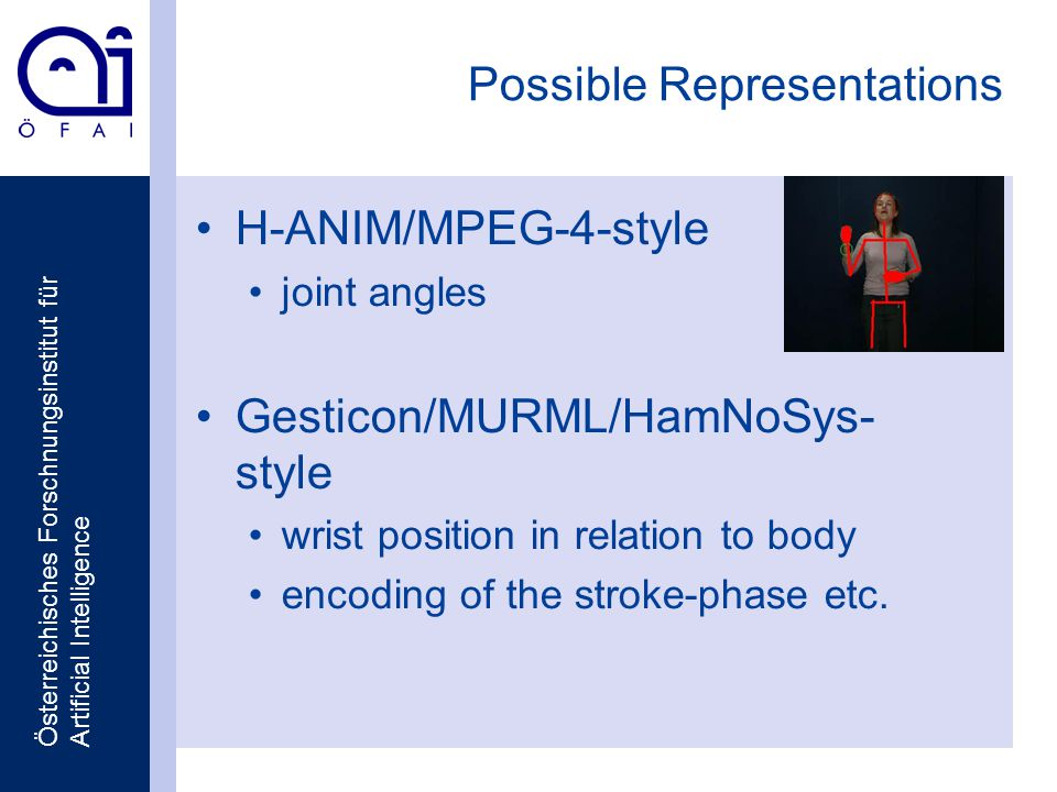 Österreichisches Forschnungsinstitut für Artificial Intelligence Possible Representations H-ANIM/MPEG-4-style joint angles Gesticon/MURML/HamNoSys- style wrist position in relation to body encoding of the stroke-phase etc.