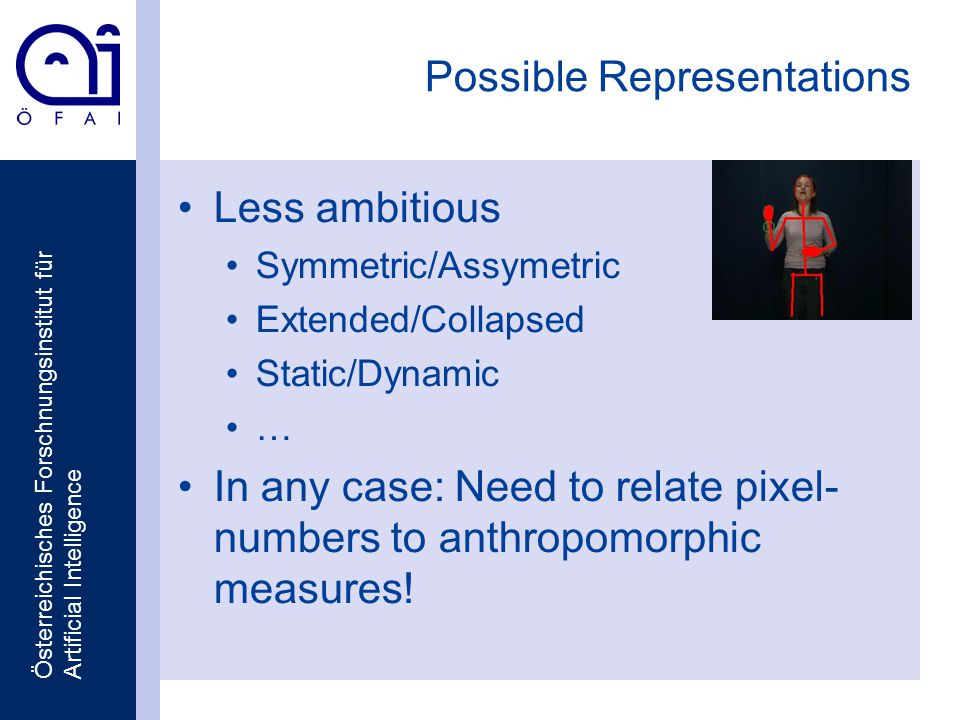 Österreichisches Forschnungsinstitut für Artificial Intelligence Possible Representations Less ambitious Symmetric/Assymetric Extended/Collapsed Static/Dynamic … In any case: Need to relate pixel- numbers to anthropomorphic measures!