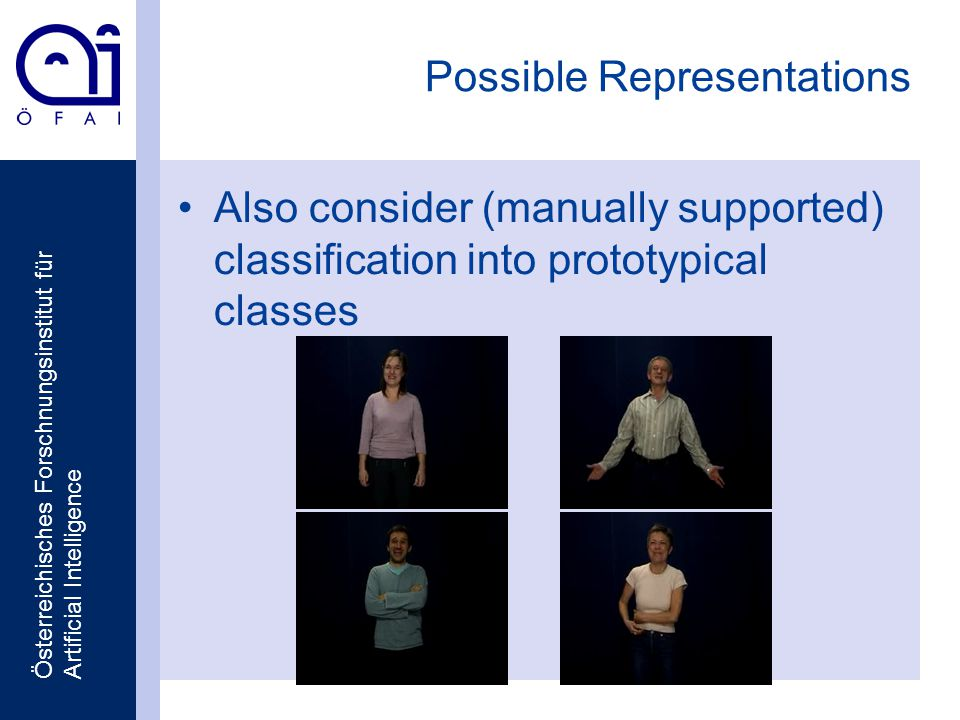 Österreichisches Forschnungsinstitut für Artificial Intelligence Possible Representations Also consider (manually supported) classification into prototypical classes