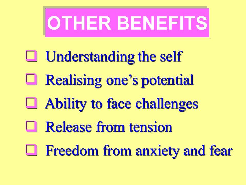 Understanding the self Understanding the self Realising ones potential Realising ones potential Ability to face challenges Ability to face challenges