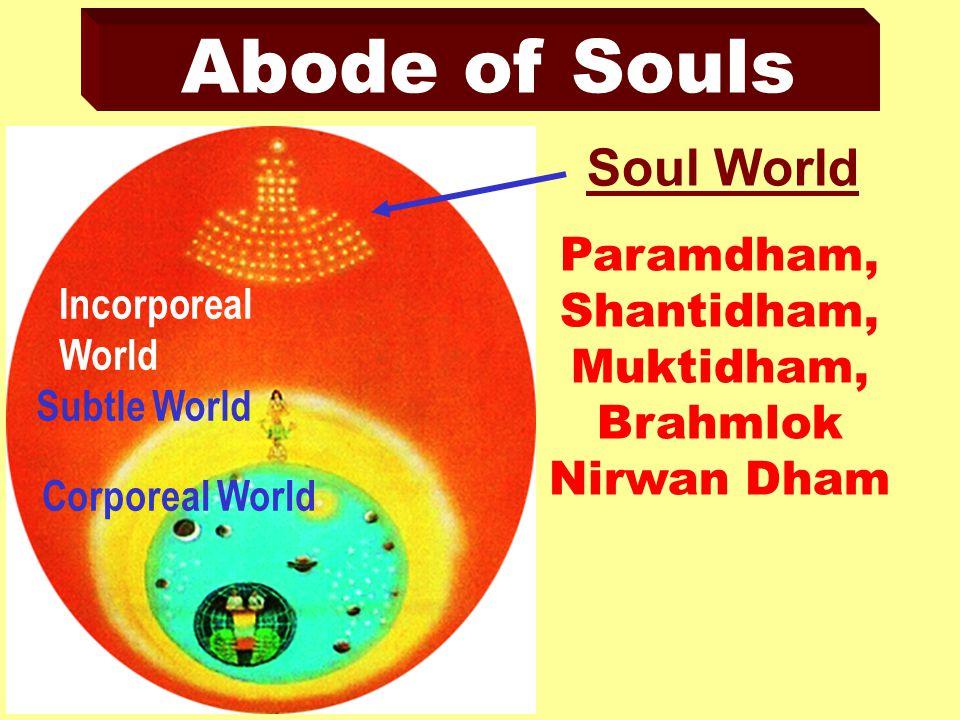 Abode of Souls Paramdham, Shantidham, Muktidham, Brahmlok Nirwan Dham Soul World Incorporeal World Subtle World Corporeal World