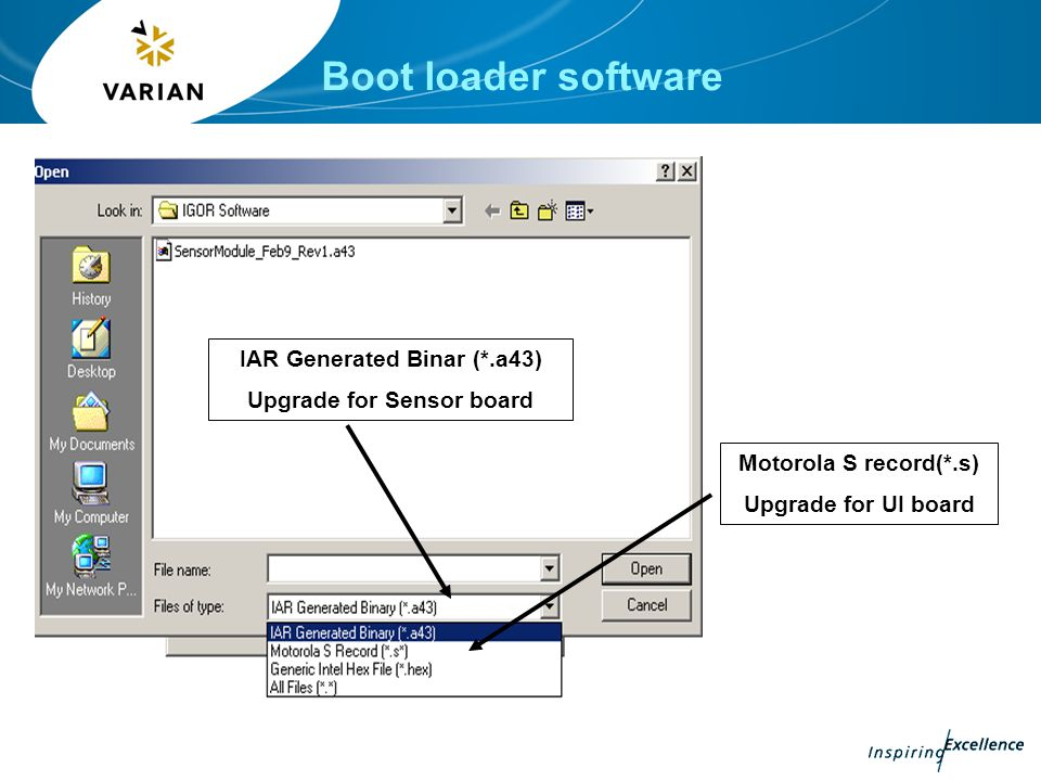 Boot loader software Motorola S record(*.s) Upgrade for UI board IAR Generated Binar (*.a43) Upgrade for Sensor board