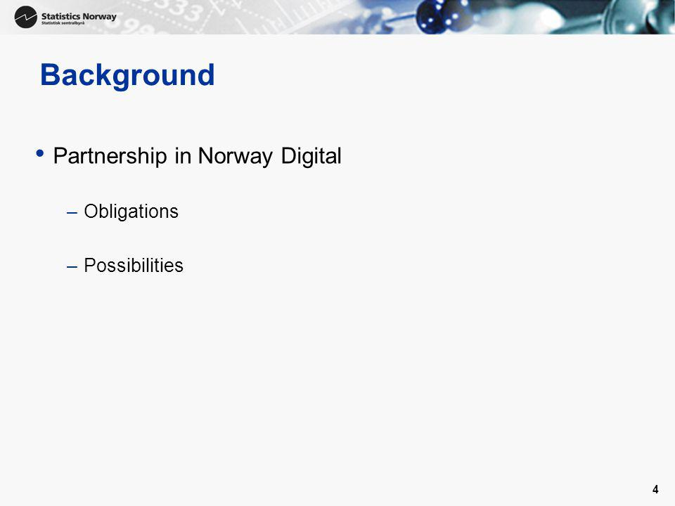 4 Background Partnership in Norway Digital –Obligations –Possibilities