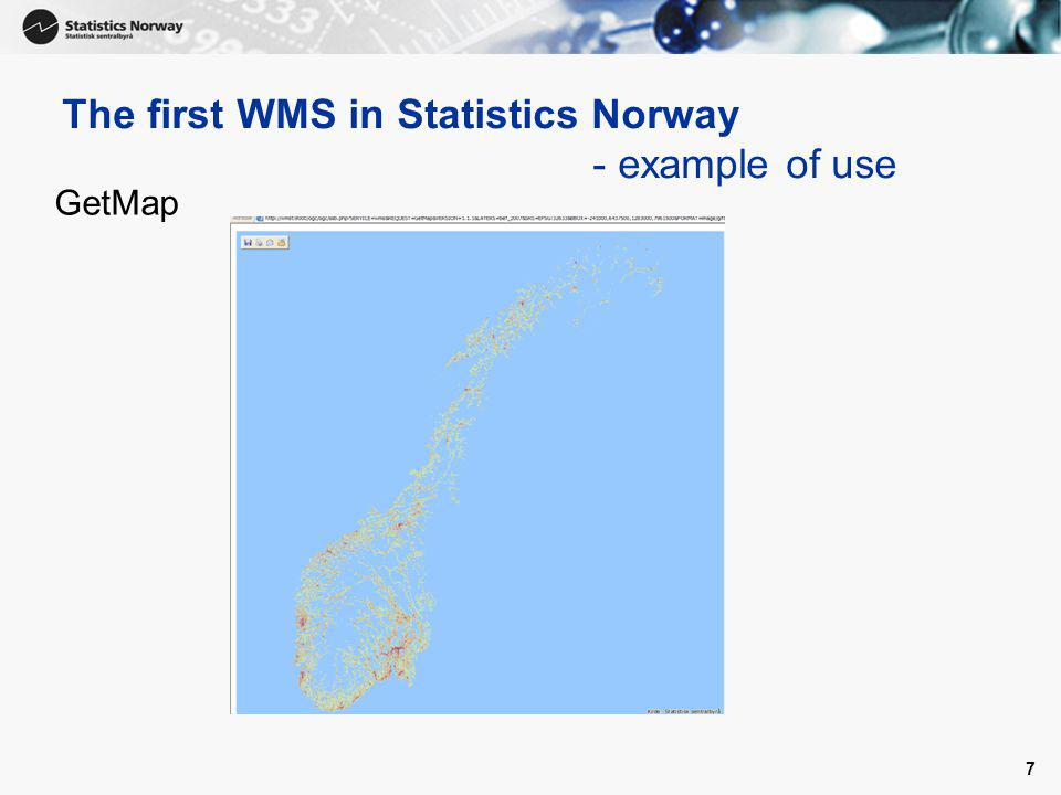 8 The first WMS in Statistics Norway - example of use GetLegendGraphic