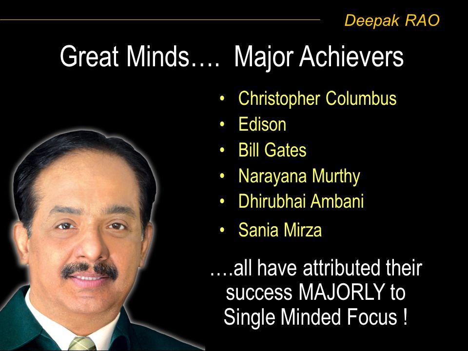 Deepak RAO Christopher Columbus Edison Bill Gates Narayana Murthy Dhirubhai Ambani Sania Mirza Great Minds…. Major Achievers ….all have attributed the