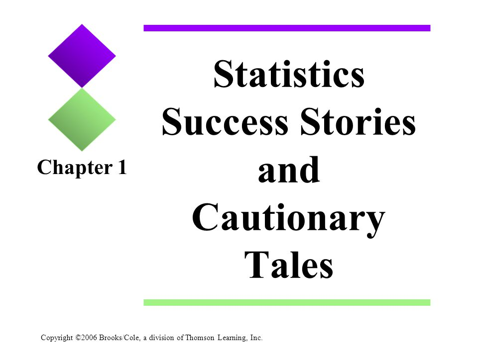 Copyright ©2006 Brooks/Cole, a division of Thomson Learning, Inc. Statistics Success Stories and Cautionary Tales Chapter 1