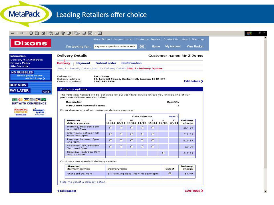 Leading Retailers offer choice