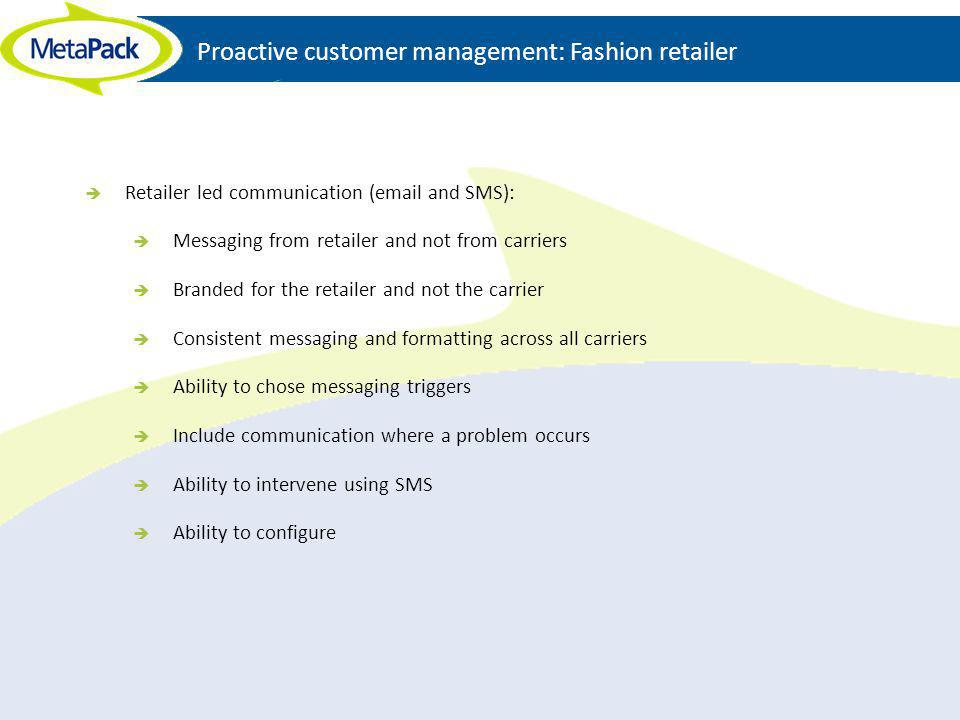 Proactive customer management: Fashion retailer Retailer led communication (email and SMS): Messaging from retailer and not from carriers Branded for