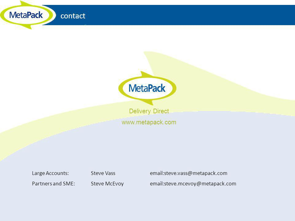 contact Large Accounts: Steve Vassemail:steve.vass@metapack.com Partners and SME: Steve McEvoyemail:steve.mcevoy@metapack.com Delivery Direct www.meta