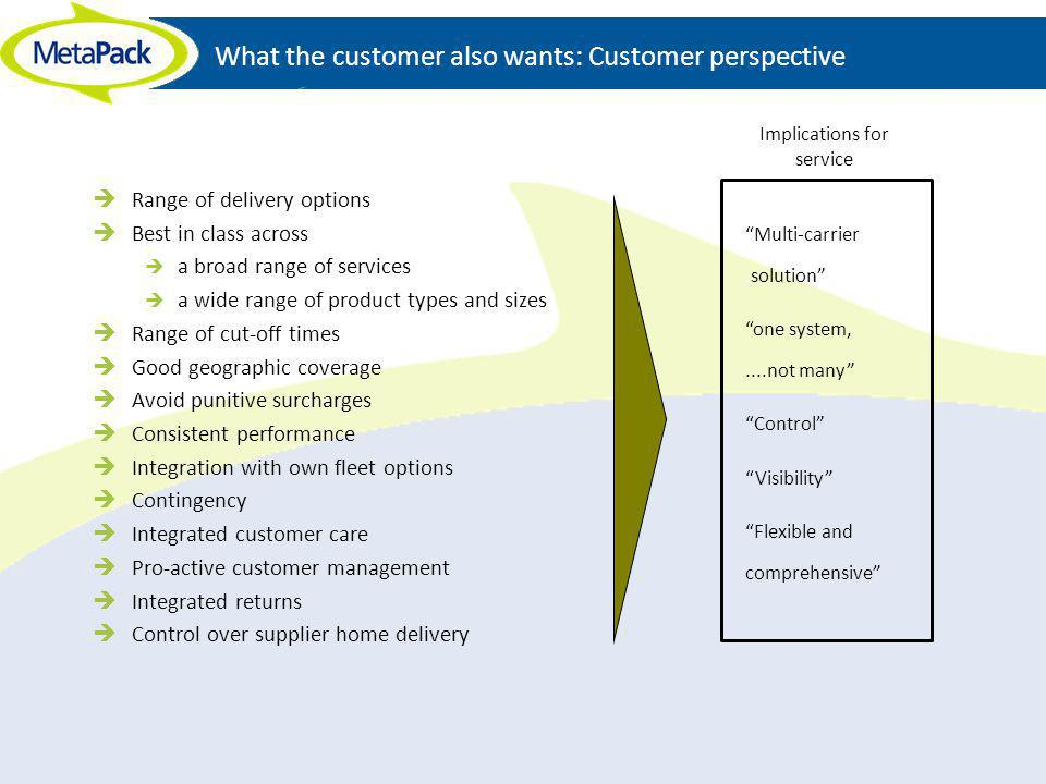 What the customer also wants: Customer perspective Range of delivery options Best in class across a broad range of services a wide range of product ty