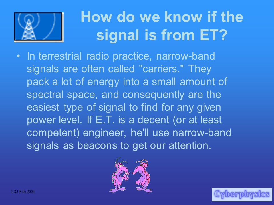 LOJ Feb 2004 How do we know if the signal is from ET.