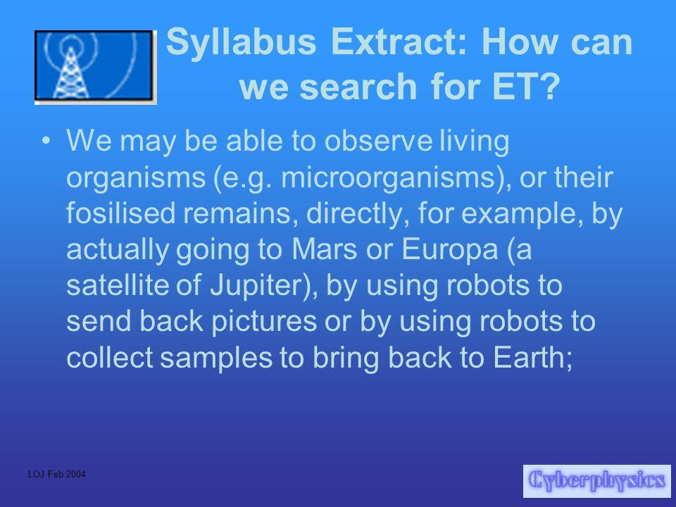 LOJ Feb 2004 E.T. The Search for ExtraTerrestrial Life