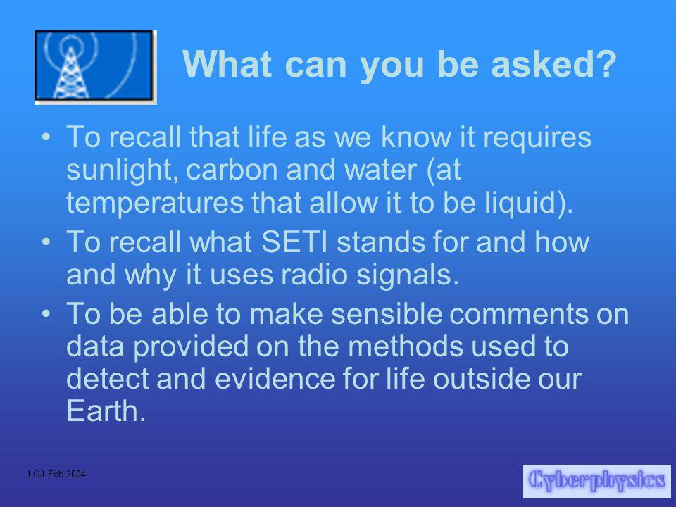 LOJ Feb 2004 Why do SETI at all.
