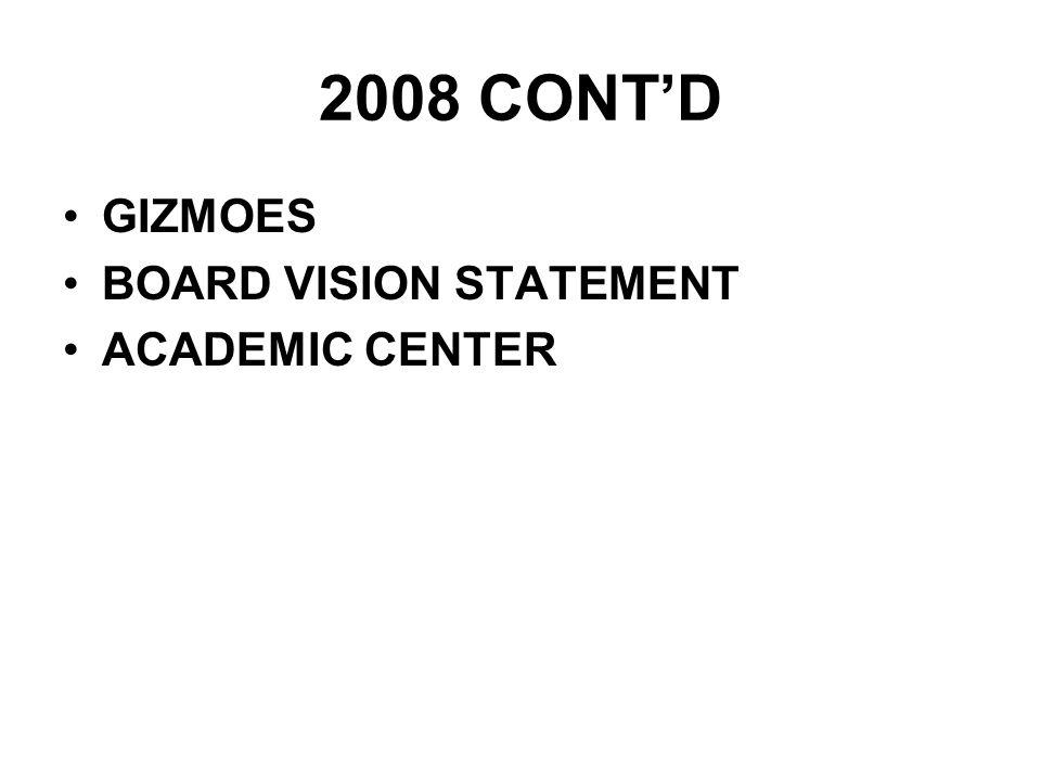 2008 CONTD GIZMOES BOARD VISION STATEMENT ACADEMIC CENTER