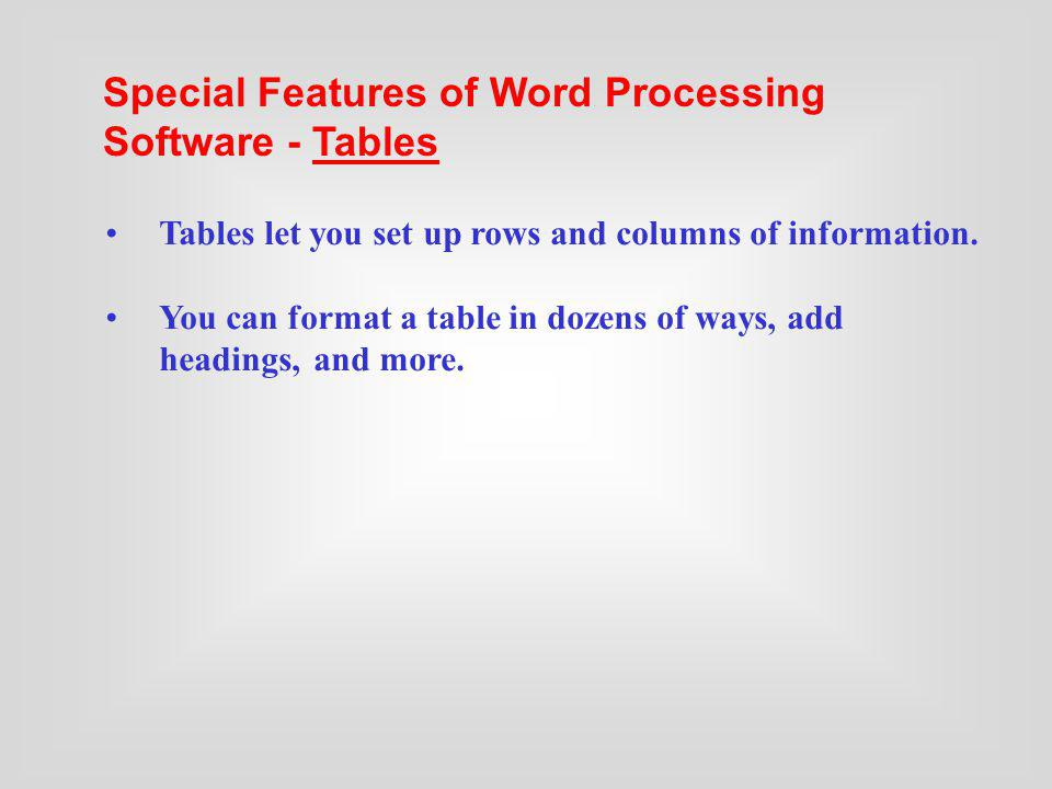 Tables let you set up rows and columns of information. You can format a table in dozens of ways, add headings, and more. Special Features of Word Proc