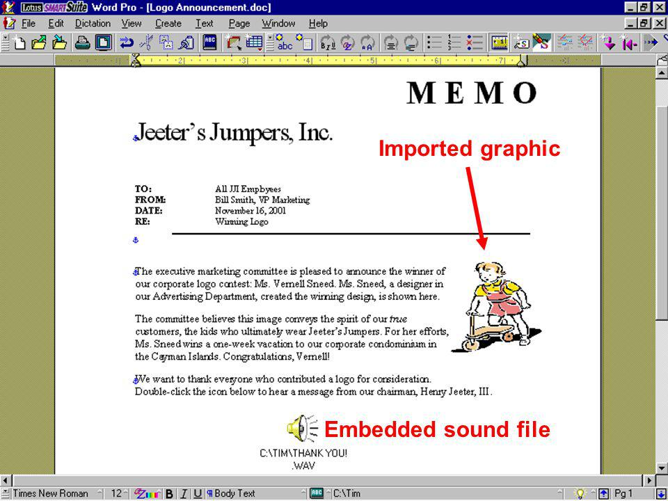 Imported graphic Embedded sound file