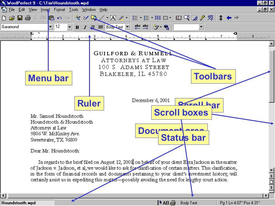 Menu bar Toolbars Ruler Document area Status barScroll bar Scroll boxes