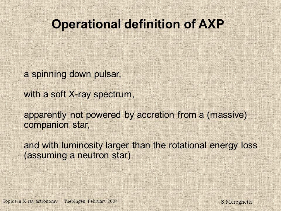 Topics in X-ray astronomy - Tuebingen February 2004 S.Mereghetti SPIN - DOWN ENERGY LOSS X-RAY LUMINOSITY ROTATION-POWERED PULSARS (Possenti et al.