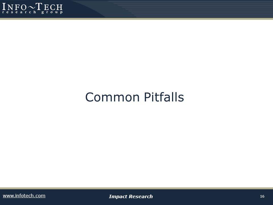 www.infotech.com Impact Research 16 Common Pitfalls