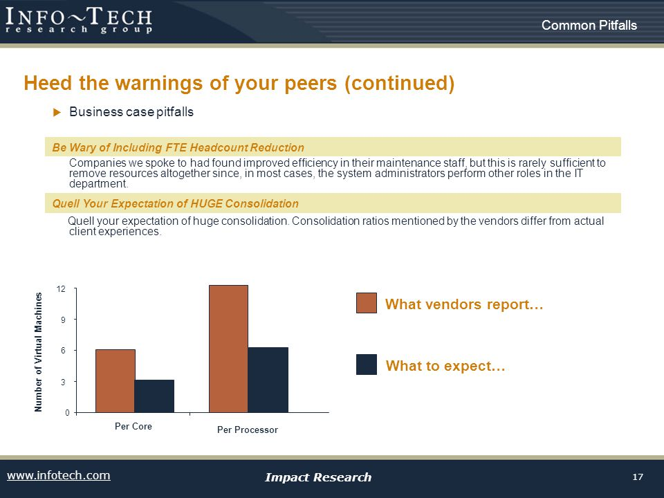 www.infotech.com Impact Research 17 Heed the warnings of your peers (continued) Business case pitfalls Be wary of including FTE headcount reduction Companies we spoke to had found improved efficiency in their maintenance staff, but this is rarely sufficient to remove resources altogether since, in most cases, the system administrators perform other roles in the IT department.
