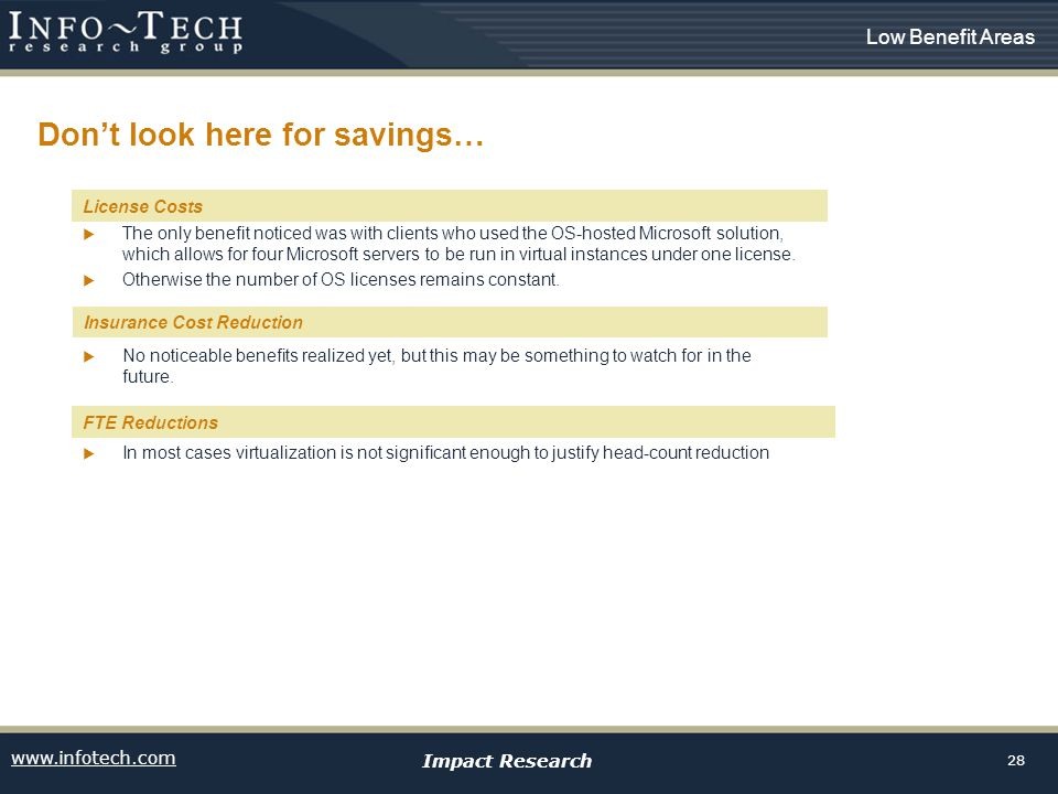 www.infotech.com Impact Research 28 Dont look here for savings… License costs The only benefit noticed was with clients who used the OS-hosted Microso