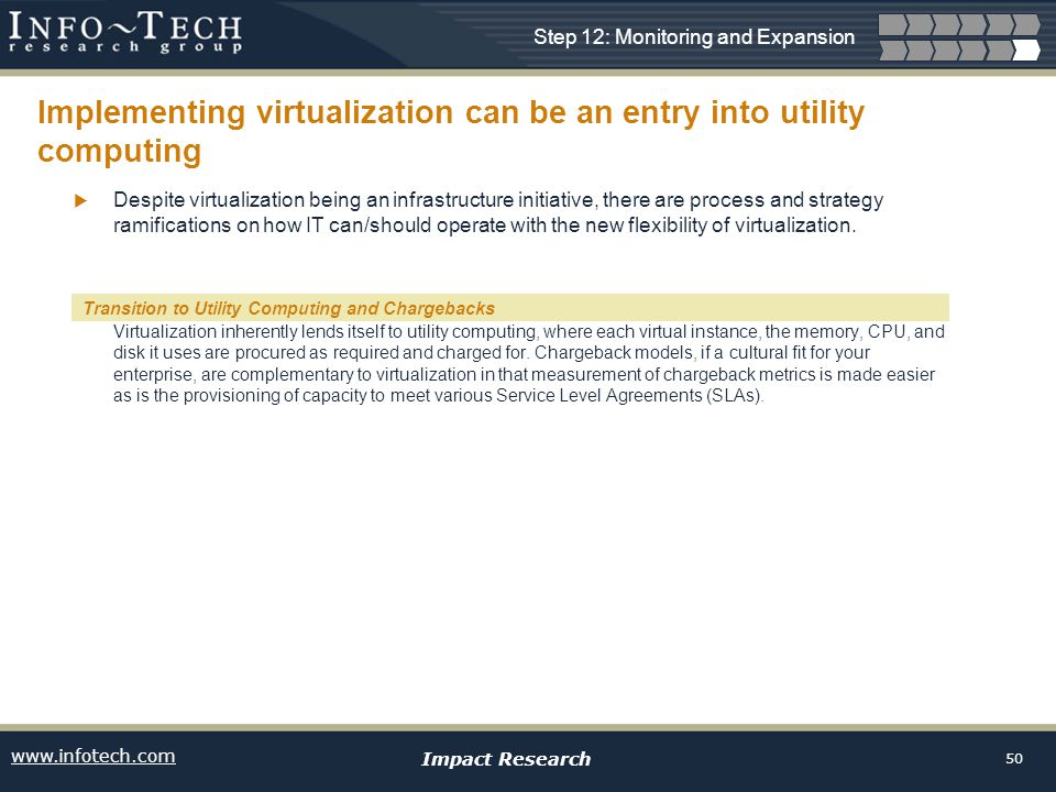 www.infotech.com Impact Research 50 Implementing virtualization can be an entry into utility computing Despite virtualization being an infrastructure