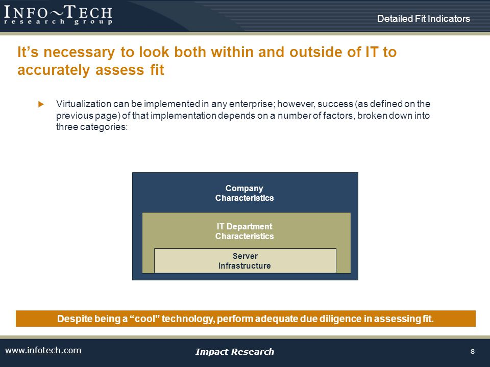 www.infotech.com Impact Research 8 Its necessary to look both within and outside of IT to accurately assess fit Despite being a cool technology, perfo