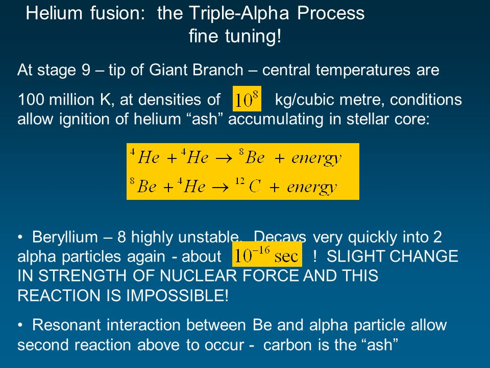 At stage 9 – tip of Giant Branch – central temperatures are 100 million K, at densities of kg/cubic metre, conditions allow ignition of helium ash accumulating in stellar core: Beryllium – 8 highly unstable.