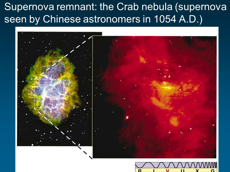 Supernova remnant: the Crab nebula (supernova seen by Chinese astronomers in 1054 A.D.)
