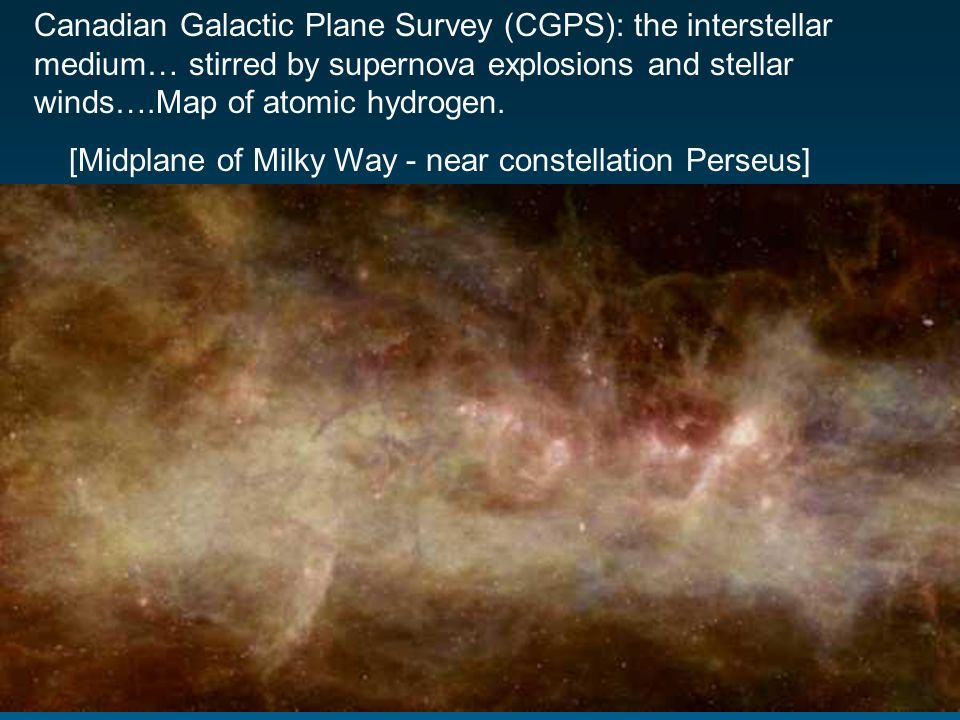 Canadian Galactic Plane Survey (CGPS): the interstellar medium… stirred by supernova explosions and stellar winds….Map of atomic hydrogen.
