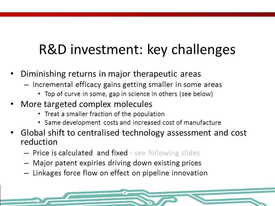 R&D investment: key challenges Diminishing returns in major therapeutic areas – Incremental efficacy gains getting smaller in some areas Top of curve