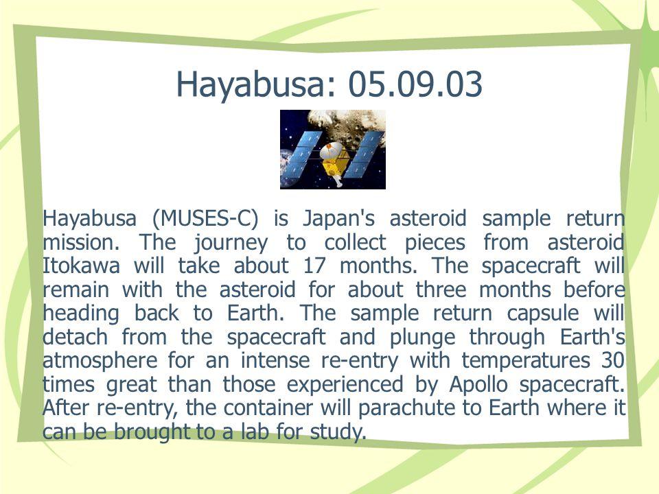 Hayabusa: 05.09.03 Hayabusa (MUSES-C) is Japan s asteroid sample return mission.