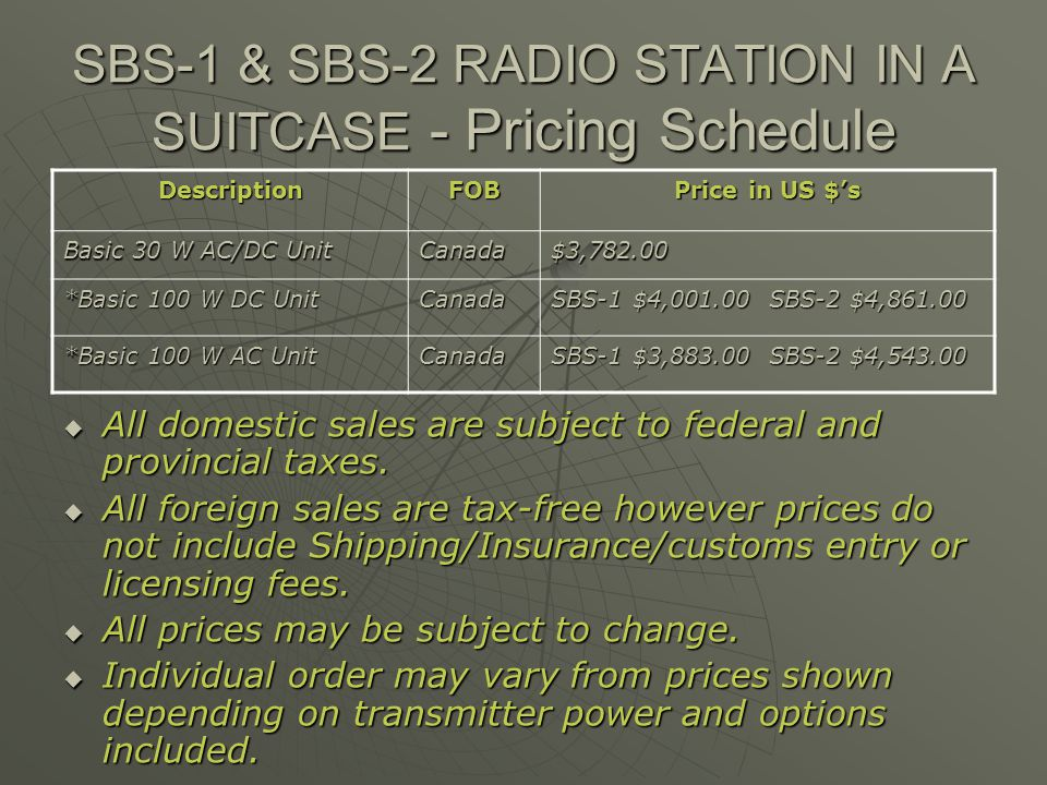 SBS-1 & SBS-2 RADIO STATION IN A SUITCASE - Pricing Schedule DescriptionFOB Price in US $s Basic 30 W AC/DC Unit Canada$3,782.00 *Basic 100 W DC Unit