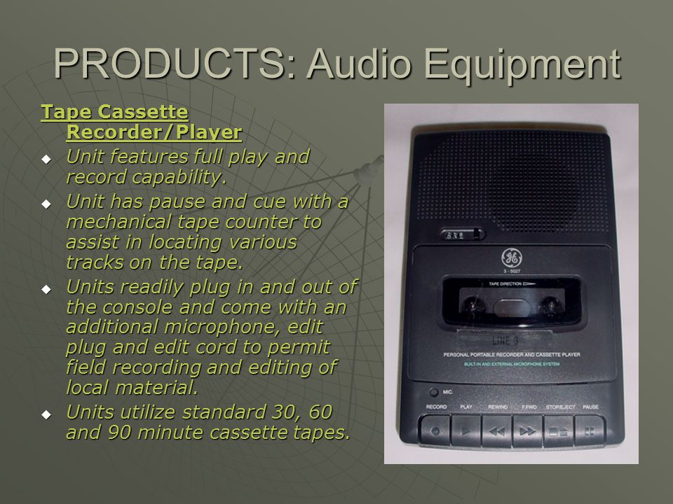 PRODUCTS: Audio Equipment Tape Cassette Recorder/Player Unit features full play and record capability. Unit features full play and record capability.