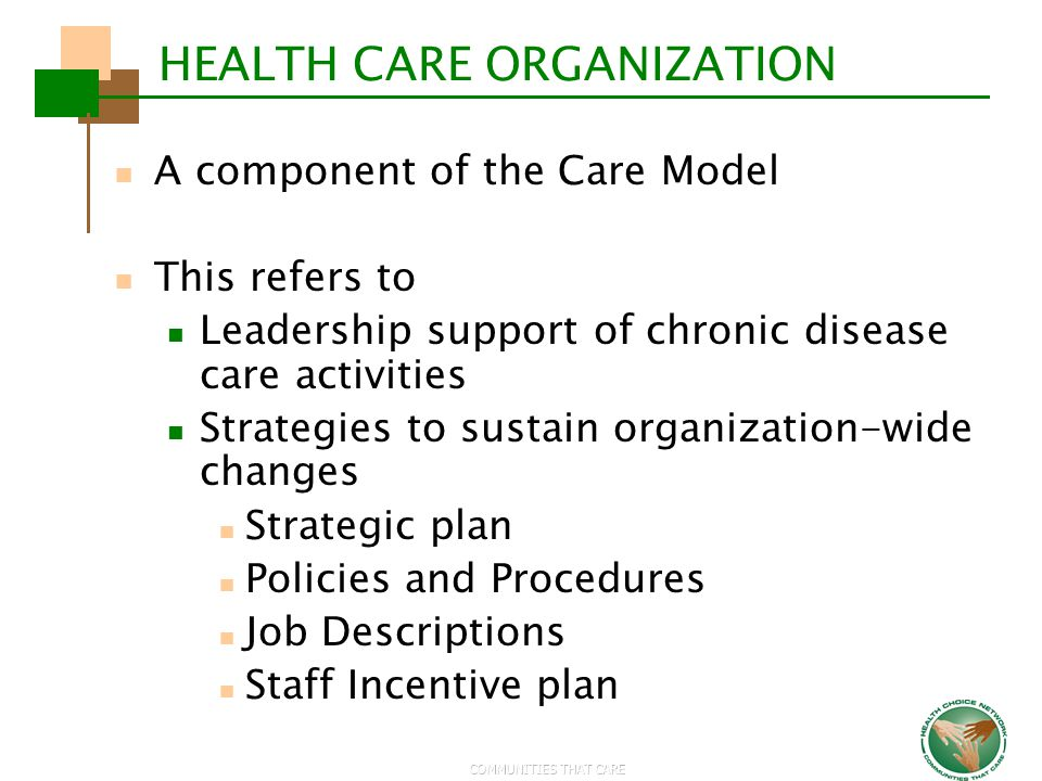 COMMUNITIES THAT CARE HEALTH CARE ORGANIZATION A component of the Care Model This refers to Leadership support of chronic disease care activities Stra