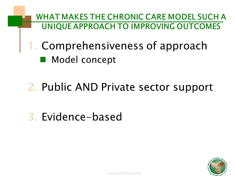 COMMUNITIES THAT CARE WHAT MAKES THE CHRONIC CARE MODEL SUCH A UNIQUE APPROACH TO IMPROVING OUTCOMES 1.Comprehensiveness of approach Model concept 2.P