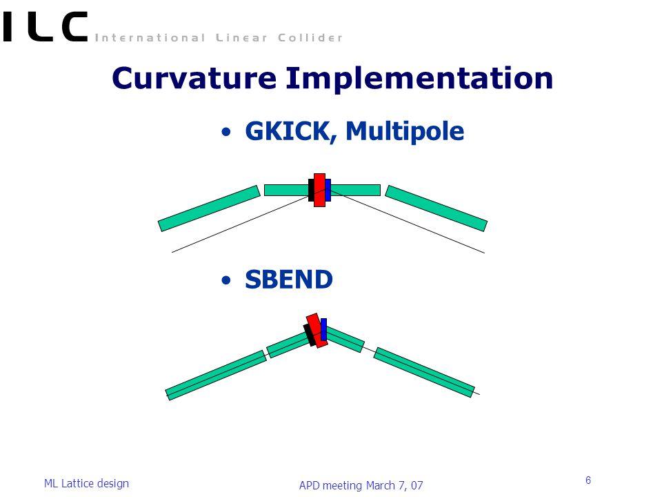 APD meeting March 7, 07 ML Lattice design 6 Curvature Implementation GKICK, Multipole SBEND
